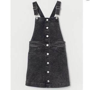 H&M Black Washed Out Bib Overall Dress 10/11Y